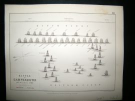 Battle of Camperdown, Holland, Naval Ships: 1848 Antique Battle Plan. Johnston